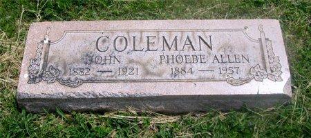 ALLEN COLEMAN, PHOEBE - Lucas County, Ohio | PHOEBE ALLEN COLEMAN - Ohio Gravestone Photos