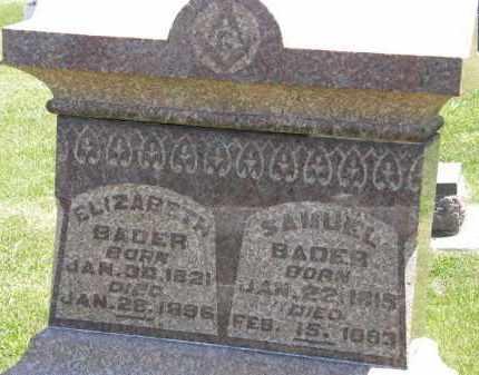 BADER, ELIZABETH - Marion County, Ohio | ELIZABETH BADER - Ohio Gravestone Photos