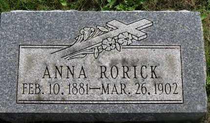 RORICK, ANNA - Marion County, Ohio   ANNA RORICK - Ohio Gravestone Photos