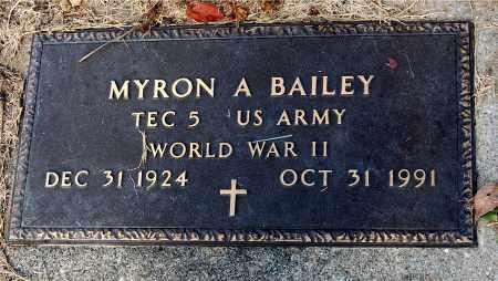 BAILEY, MYRON A - Meigs County, Ohio | MYRON A BAILEY - Ohio Gravestone Photos