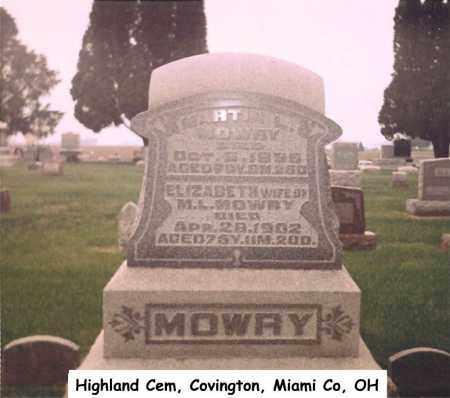 MOWRY, ELIZABETH - Miami County, Ohio | ELIZABETH MOWRY - Ohio Gravestone Photos