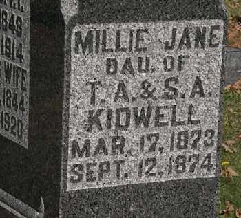 KIDWELL, MILLIE JANE - Morrow County, Ohio | MILLIE JANE KIDWELL - Ohio Gravestone Photos