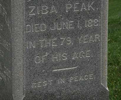 PEAK, ZIBA - Morrow County, Ohio   ZIBA PEAK - Ohio Gravestone Photos