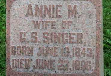 SINGER, ANNIE M. - Morrow County, Ohio | ANNIE M. SINGER - Ohio Gravestone Photos