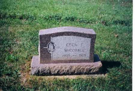 MCCORKLE, CECIL F - Shelby County, Ohio   CECIL F MCCORKLE - Ohio Gravestone Photos