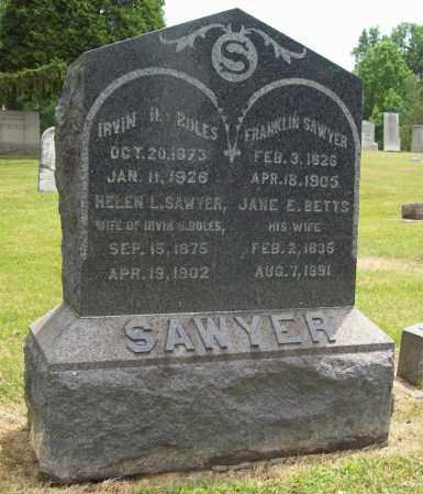 BETTS SAWYER, JANE E. - Trumbull County, Ohio | JANE E. BETTS SAWYER - Ohio Gravestone Photos