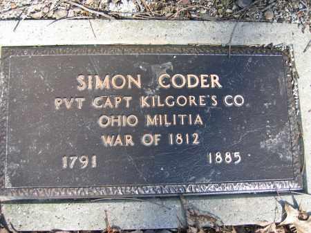 CODER, SIMON - Union County, Ohio | SIMON CODER - Ohio Gravestone Photos
