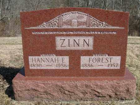 ZINN, FOREST AND HANNAH ELIZA - Vinton County, Ohio   FOREST AND HANNAH ELIZA ZINN - Ohio Gravestone Photos