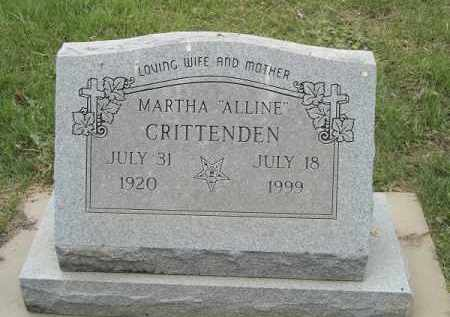 "CRITTENDEN, MARTHA ""ALLINE"" - Adair County, Oklahoma | MARTHA ""ALLINE"" CRITTENDEN - Oklahoma Gravestone Photos"