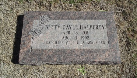 ALLEN HALFERTY, BETTY GAYLE - Alfalfa County, Oklahoma | BETTY GAYLE ALLEN HALFERTY - Oklahoma Gravestone Photos