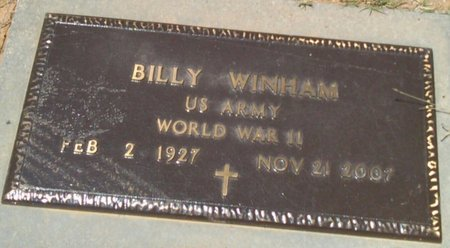 WINHAM, BILLY - Bryan County, Oklahoma | BILLY WINHAM - Oklahoma Gravestone Photos