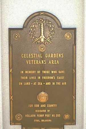 VETERAN'S AREA, *CELESTIAL GARDENS - Caddo County, Oklahoma   *CELESTIAL GARDENS VETERAN'S AREA - Oklahoma Gravestone Photos