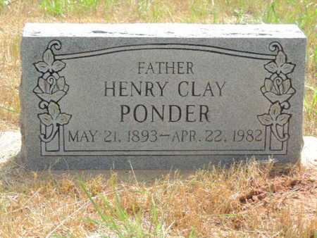 PONDER, HENRY CLAY - Caddo County, Oklahoma | HENRY CLAY PONDER - Oklahoma Gravestone Photos