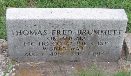 BRUMMETT (VETERAN WWI), THOMAS FRED - Cherokee County, Oklahoma   THOMAS FRED BRUMMETT (VETERAN WWI) - Oklahoma Gravestone Photos