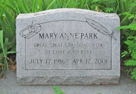 PARK, MARY ANNE - Cherokee County, Oklahoma | MARY ANNE PARK - Oklahoma Gravestone Photos