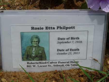 PHILPOTT, ROSIE ETTA - Cherokee County, Oklahoma | ROSIE ETTA PHILPOTT - Oklahoma Gravestone Photos