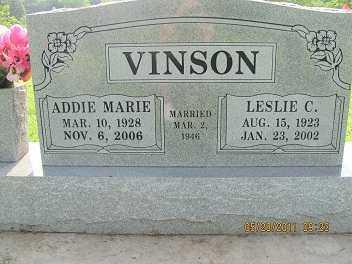 VINSON, LESLIE C. - Cherokee County, Oklahoma | LESLIE C. VINSON - Oklahoma Gravestone Photos