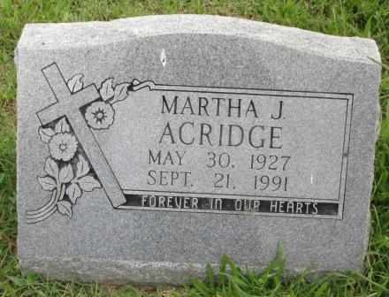 ACRIDGE, MARTHA J - Delaware County, Oklahoma | MARTHA J ACRIDGE - Oklahoma Gravestone Photos