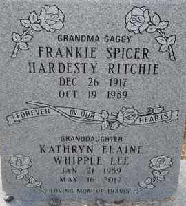 SPICER RITCHIE, FRANKIE - Delaware County, Oklahoma | FRANKIE SPICER RITCHIE - Oklahoma Gravestone Photos