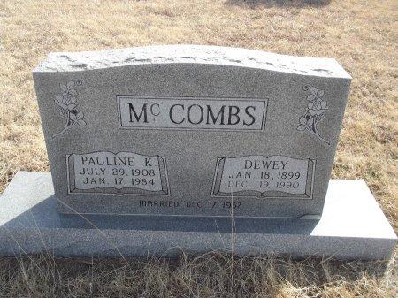 MCCOMBS, DEWEY - Grant County, Oklahoma | DEWEY MCCOMBS - Oklahoma Gravestone Photos