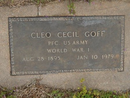 GOFF (VETERAN WWI), CLEO CECIL - Kay County, Oklahoma | CLEO CECIL GOFF (VETERAN WWI) - Oklahoma Gravestone Photos