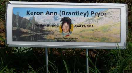 BRANTLEY PRYOR, KERON ANN - Osage County, Oklahoma   KERON ANN BRANTLEY PRYOR - Oklahoma Gravestone Photos