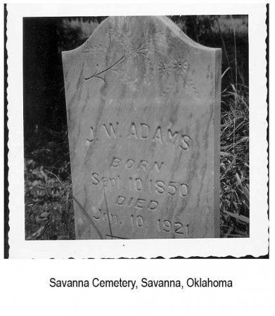 ADAMS, JOHN WILLIAM - Pittsburg County, Oklahoma | JOHN WILLIAM ADAMS - Oklahoma Gravestone Photos