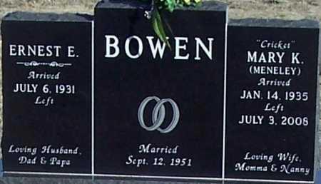 """MENELEY BOWEN, MARY K.""""CRICKET"""" - Pontotoc County, Oklahoma   MARY K.""""CRICKET"""" MENELEY BOWEN - Oklahoma Gravestone Photos"""