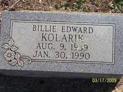 KOLARIK, BILLIE EDWARD - Pontotoc County, Oklahoma | BILLIE EDWARD KOLARIK - Oklahoma Gravestone Photos