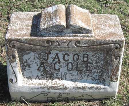 COLE, JACOB ALEXANDER (ORIGINAL MONUMENT) - Sequoyah County, Oklahoma | JACOB ALEXANDER (ORIGINAL MONUMENT) COLE - Oklahoma Gravestone Photos