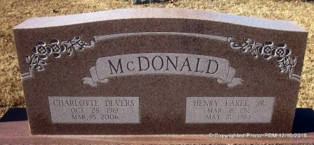 DEVERS MCDONALD, CHARLOTTE - Sequoyah County, Oklahoma   CHARLOTTE DEVERS MCDONALD - Oklahoma Gravestone Photos