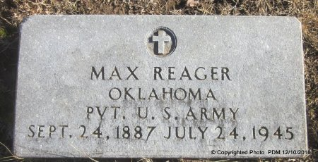 REAGER, MAX  (VETERAN) - Sequoyah County, Oklahoma | MAX  (VETERAN) REAGER - Oklahoma Gravestone Photos