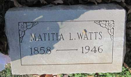 WATTS, MATITIA LOUISA - Sequoyah County, Oklahoma | MATITIA LOUISA WATTS - Oklahoma Gravestone Photos