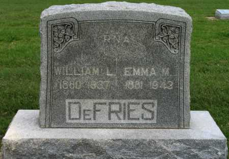DEFRIES, WILLIAM L - Tulsa County, Oklahoma | WILLIAM L DEFRIES - Oklahoma Gravestone Photos