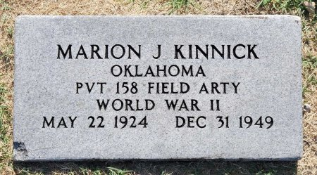 KINNICK (VETERAN WWII), MARION JUNIOR (NEW) - Tulsa County, Oklahoma | MARION JUNIOR (NEW) KINNICK (VETERAN WWII) - Oklahoma Gravestone Photos