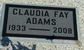 ADAMS, CLAUDIA - Washington County, Oklahoma | CLAUDIA ADAMS - Oklahoma Gravestone Photos