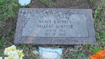FALLEAF SUMPTER, NANCY - Washington County, Oklahoma | NANCY FALLEAF SUMPTER - Oklahoma Gravestone Photos
