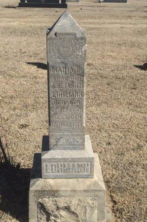 LOHMANN, MARIA K - Woods County, Oklahoma | MARIA K LOHMANN - Oklahoma Gravestone Photos