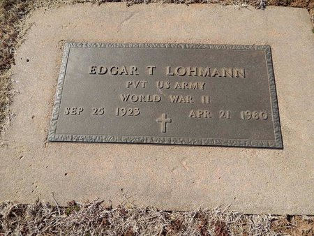 LOHMANN (VETERAN WWII), EDGAR T - Woods County, Oklahoma   EDGAR T LOHMANN (VETERAN WWII) - Oklahoma Gravestone Photos