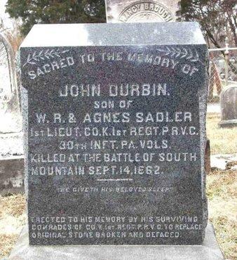 SADLER (CW), JOHN DURBIN - Adams County, Pennsylvania | JOHN DURBIN SADLER (CW) - Pennsylvania Gravestone Photos