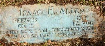 ALLEN (CW), ISAAC H. - Allegheny County, Pennsylvania | ISAAC H. ALLEN (CW) - Pennsylvania Gravestone Photos