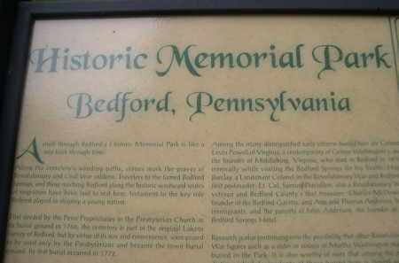 *HISTORIC MEMORIAL PARK, INTRODUCTORY PLAQUE IN - Bedford County, Pennsylvania | INTRODUCTORY PLAQUE IN *HISTORIC MEMORIAL PARK - Pennsylvania Gravestone Photos