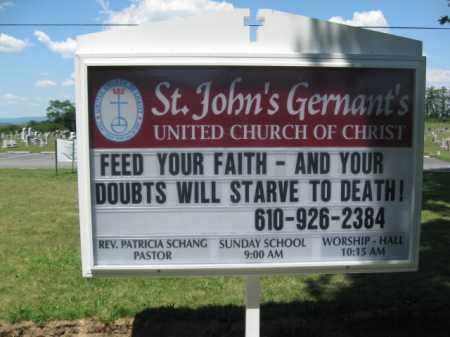 CEMETERY CHURCH SIGN, ST.JOHN'S GERNANTS UCC - Berks County, Pennsylvania | ST.JOHN'S GERNANTS UCC CEMETERY CHURCH SIGN - Pennsylvania Gravestone Photos