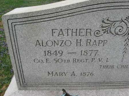 RAPP (CW_, ALONZO H. - Berks County, Pennsylvania   ALONZO H. RAPP (CW_ - Pennsylvania Gravestone Photos