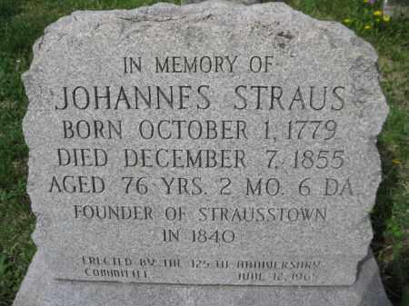 STRAUS, JOHANNES - Berks County, Pennsylvania | JOHANNES STRAUS - Pennsylvania Gravestone Photos