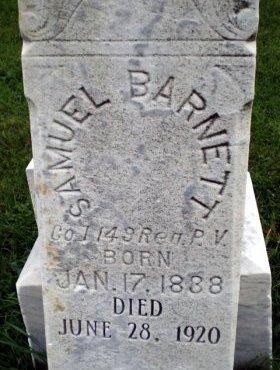 BARNETT (CW), SAMUEL - Blair County, Pennsylvania | SAMUEL BARNETT (CW) - Pennsylvania Gravestone Photos
