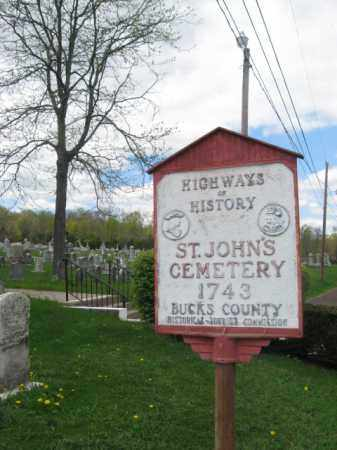 CEMETERY SIGN, ST.JOHN - Bucks County, Pennsylvania | ST.JOHN CEMETERY SIGN - Pennsylvania Gravestone Photos