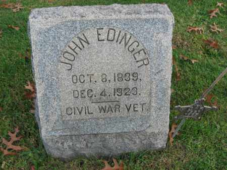 EDINGER (EDDINGER), JOHN - Bucks County, Pennsylvania | JOHN EDINGER (EDDINGER) - Pennsylvania Gravestone Photos