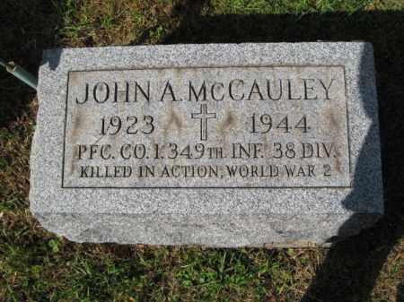 MCCAULEY (WW II), JOHN A, - Bucks County, Pennsylvania   JOHN A, MCCAULEY (WW II) - Pennsylvania Gravestone Photos