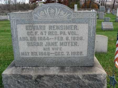 RENSIMER, PVT.EDWARD - Bucks County, Pennsylvania | PVT.EDWARD RENSIMER - Pennsylvania Gravestone Photos